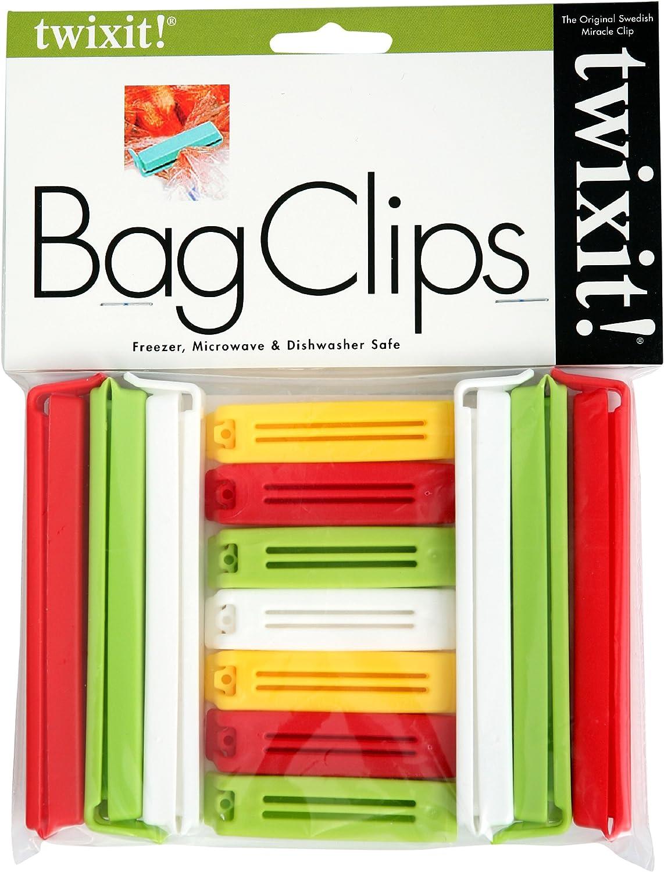 Linden Sweden Twixit! Bag Clips - Set of 13 - Keep Food Fresh, Prevent Spillage - Great for Storage and Organization - Microwave, Freezer and Dishwasher-Safe - BPA-Free