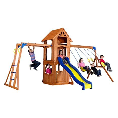 Amazon Com Backyard Discovery Parkway All Cedar Wood Playset Swing