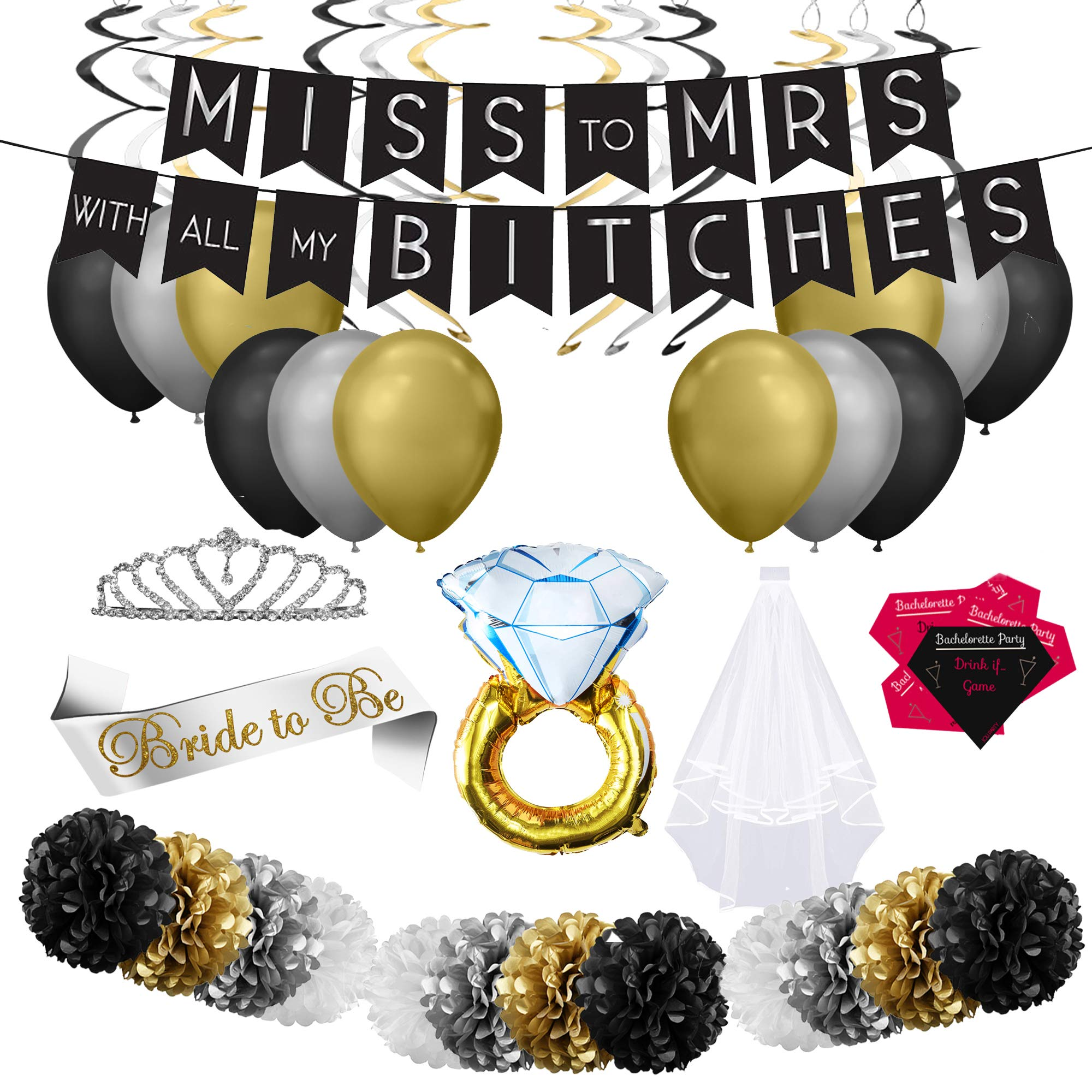 Joli - Bachelorette Party Decorations Kit, Bridal Shower, Hen Night Bundle For Girls Night In or Out. With Accessories, Supplies and Games. Balloons, Banner, Pompoms, Swirls, Veil, Sash, Tiara, Cards.
