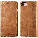 LENSUN iPhone7 ケース 手帳型 手帳 本革 カバー カードポケット スタンド機能付き マグネット式 ベルトなし アイフォン7ケース