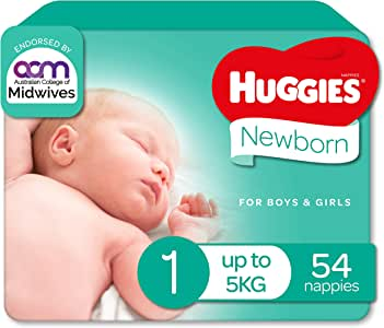 Huggies Ultimate Nappies, Unisex, Size 1 Newborn (Up To 5kg), 54 Count