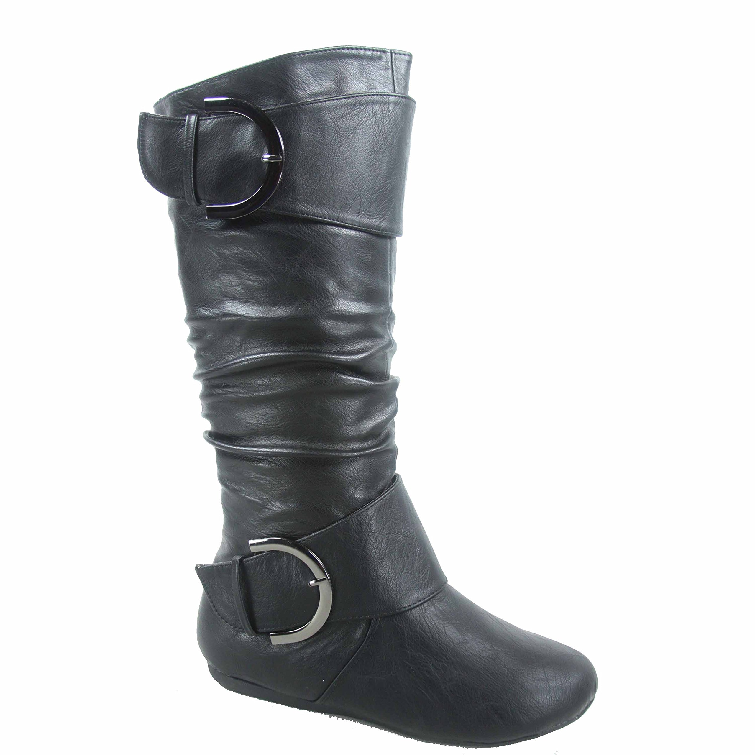 Top Moda Bank-85 Women's Fashion Mid Calf Round Toe Slouch Comfort Casual Flat Boot (10, Black)