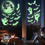 Kompanion Set da 38 Pezzi Decalcomania Halloween Brillano al Buio per la Finestra Decorazioni Spettrali, Adesivi e Decorazioni per Halloween.