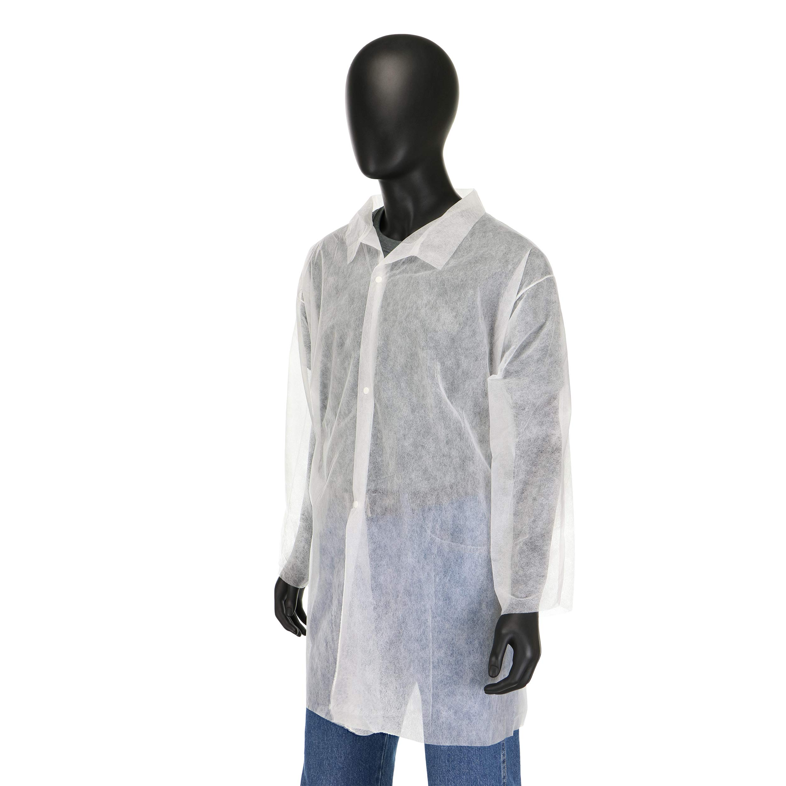 West Chester 3511 XX2XL Polypropylene STD WGT SBP Lab Coat, No Pocket, 4XL, White (Pack of 30)