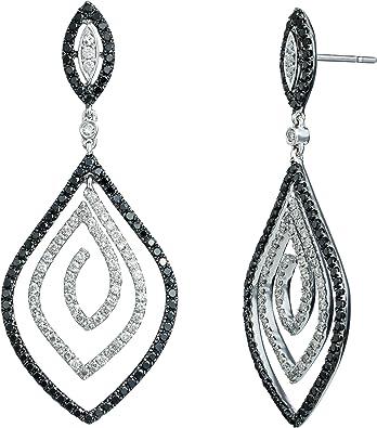 Vintage Art Deco Dazzling Black and White Crystal Waterfall Drop Dangle Earrings