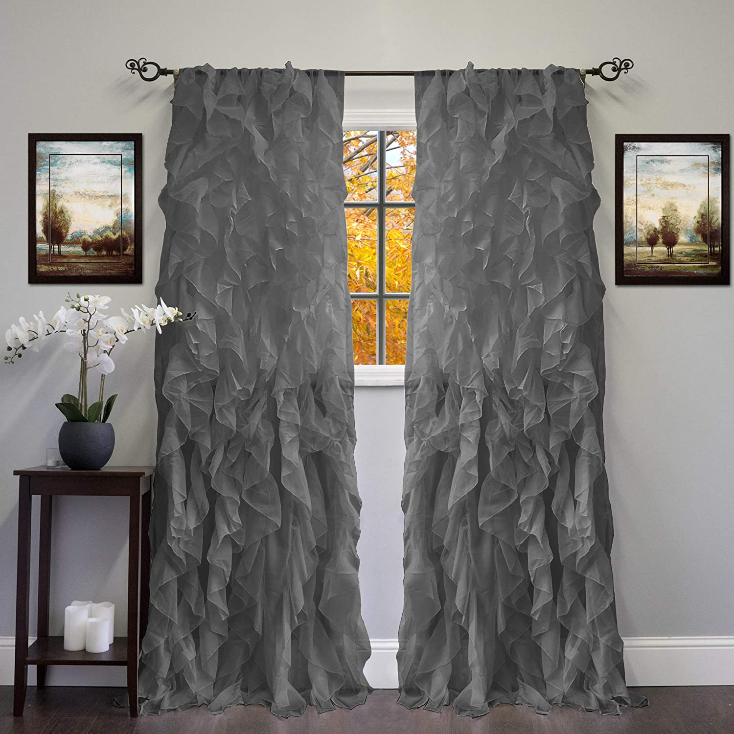 """Sweet Home Collection 2 Pack Window Panel Sheer Voile Vertical Ruffled Waterfall Curtains, 96"""" x 50"""", Gray"""