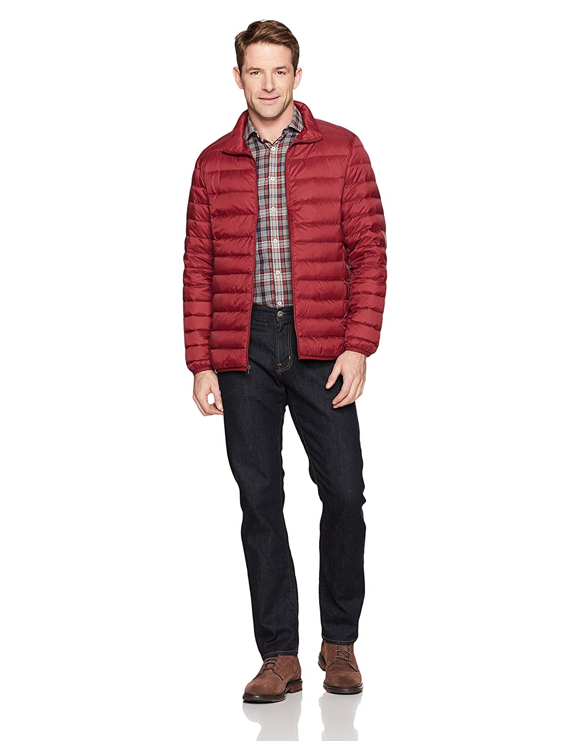 Essentials Mens Lightweight Water-Resistant Packable Down Jacket Brick Red Large