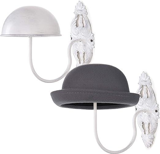 MyGift Set of 2 Wall-Mounted Black Metal Hat /& Wig Display Racks