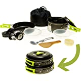 Camping Cookware Mess Kit w/LED Headlamp for Backpacking, Hiking, Survival Bug-out Bag - 11 Piece Cookware w/Pot, Pan & Utensils for 1 or 2 persons - Lightweight, Compact & Durable