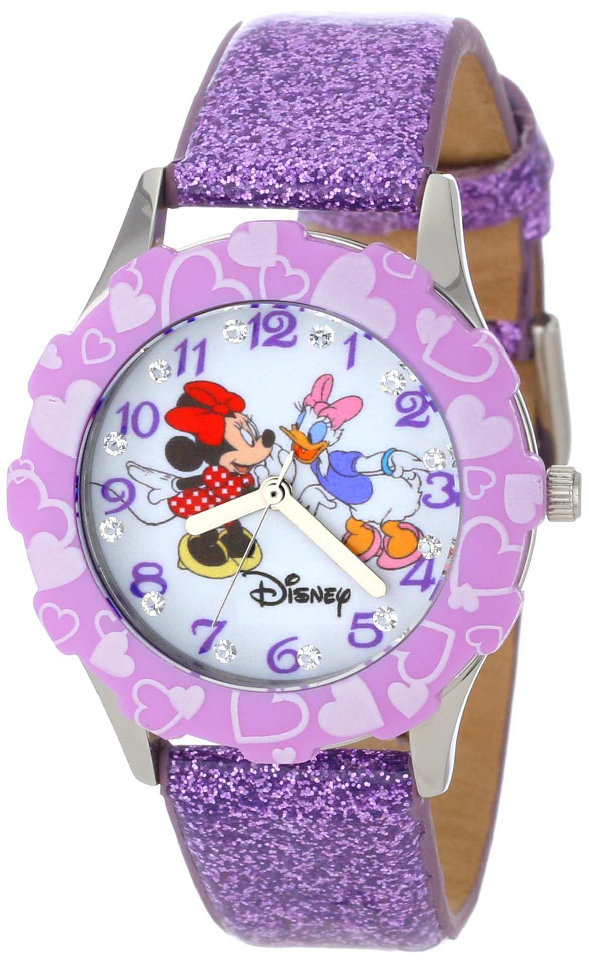 Disney Kids' W000916 ''Tween Minnie Glitz'' Stainless Steel Watch with Purple Glitter Band by Disney