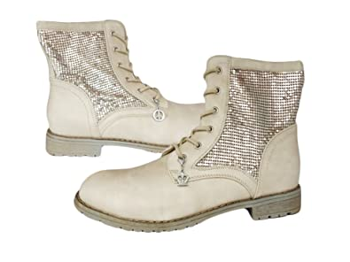 6ea882541f05 Bottes à lacets Bottines à lacets Bottes pour femme avec strass - ivoire -  ecru,  Amazon.fr  Chaussures et Sacs