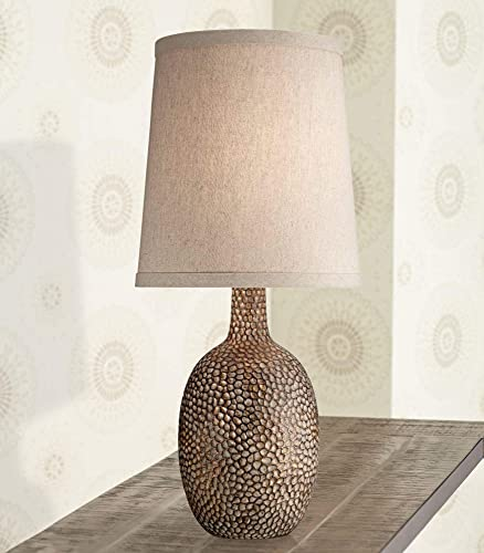 Chalane Rustic Accent Table Lamp Antique Bronze Hammered Texture Natural Beige Linen Shade