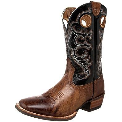 Ariat Men's Crossfire Western Cowboy Boot, Wheathered Buckskin/Shadow Black,  ...