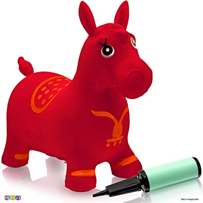 Play22 Horse Hopper RED - Inflatable Horse Bouncer Free Pump Included - Bouncy Horse Toys for Kids & Toddler Riding Horse Toy Great for Indoor and Outdoor Toys Play - Best Gift for Boys and Girls: Toys & Games