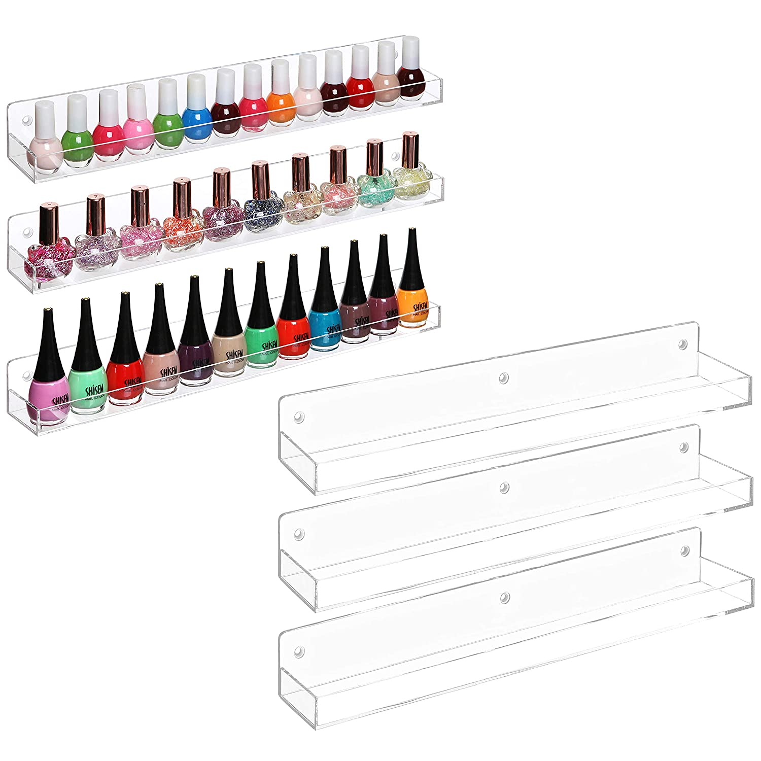 MyGift Wall-Mounted Clear Acrylic Nail Polish Floating Shelving Rack Essential Oil Display Organizer, Set of 6
