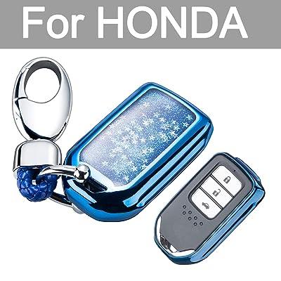 YIJINSHENG TPU Car Key Soft Plating Protection Shell Case Cover for Honda Civic, Accord, CR-V,Pilot Smart Key Keyless Remote FOB Shell Key Chains (Blue): Automotive