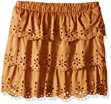 My Michelle Girls' Big Three Tiered Faux Suede Skirt with Laser Cut Outs, Tan, Medium