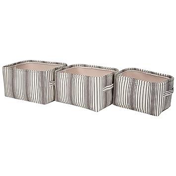 Nice Sheffield Home U2013 Set Of Three Canvas Vertical Stripe Storage Bins With  Handles U2013 Open Storage