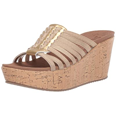 Skechers Women's Brit-Girl Wonder-Wedge Stretch Huarache Slide Sandal   Sandals
