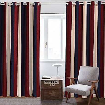 Nanami Chic Blackout Curtains Wide Stripes Grommet Window Curtains for  Living Room Bedroom One Panel (Red, 52X63)