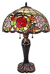 "Amora Lighting AM101TL16 Tiffany Style Hummingbirds Table Lamp, 24"" x 16"""