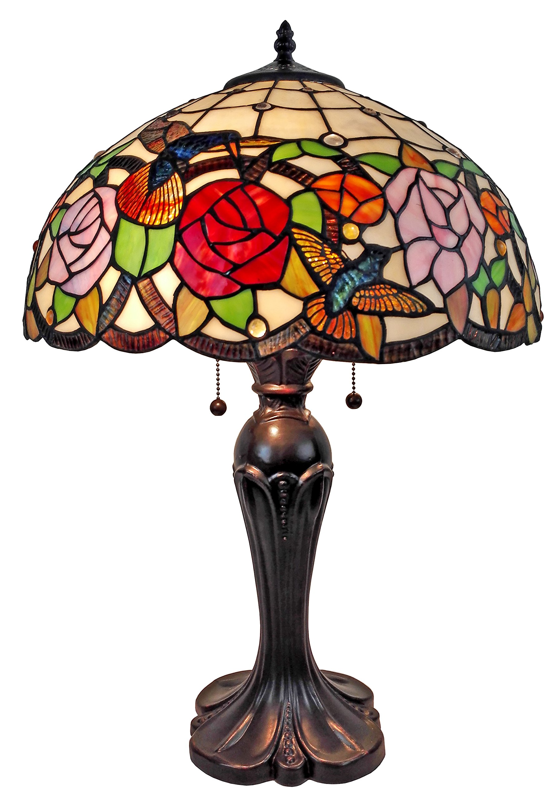 Amora Lighting AM101TL16 Tiffany Style Hummingbirds Table Lamp 24 inches High