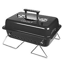 Tischgrill schwarz klein Table BBQ Balkon Camping Picknick ✔ Deckel ✔ eckig ✔ tragbar ✔ Grillen mit Holzkohle ✔ für den Tisch