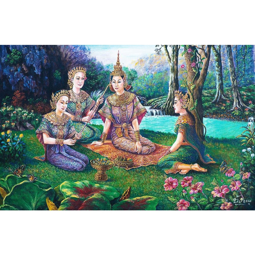 Pitaara Box Thai Drama Dance Unframed Canvas Painting 37.1 x 24.1inch by Pitaara Box