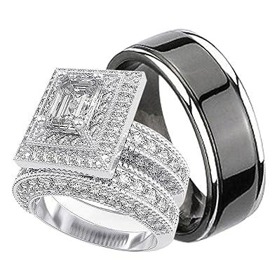 Amazon.com: Juego de anillos de boda de plata de ley y ...