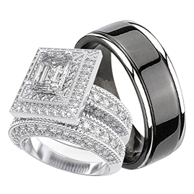 Amazon Com His And Hers Wedding Rings Set Sterling Silver Titanium Matching Bands For Him And Her Jewelry