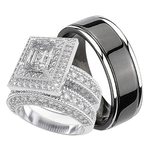 Juego de anillos de boda de titanio y plata de ley para él y ella ...