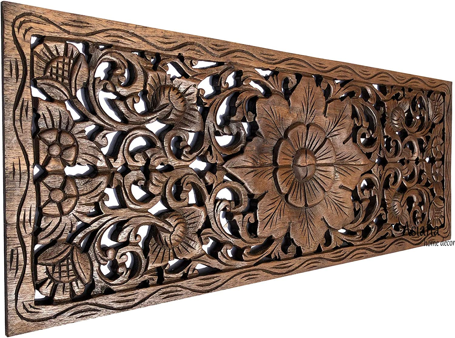 "Asiana Home Decor Large Carved Wood Wall Panel. Floral Wood Carved Wall Decor. Size 35.5""x13.5""x0.5"" (Brown-Teak)"