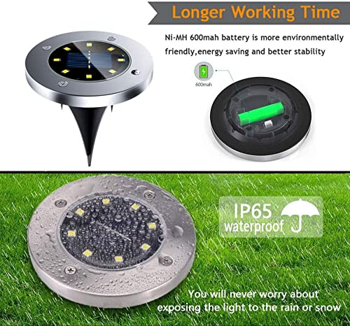 HHKT 8 LED Bulbs Solar Powered Ground Lights Outdoor Waterproof Garden Lighting Sensor Light for Deck Walkway Driveway Stair Patio Landscape Yard Lawn Pathway Decorative Lamp Bright White 4 Pack