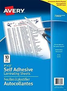 """Avery Self-Adhesive Laminating Sheets, 9"""" x 12"""", Permanent Adhesive, 10 Clear Laminating Sheets (73603)"""