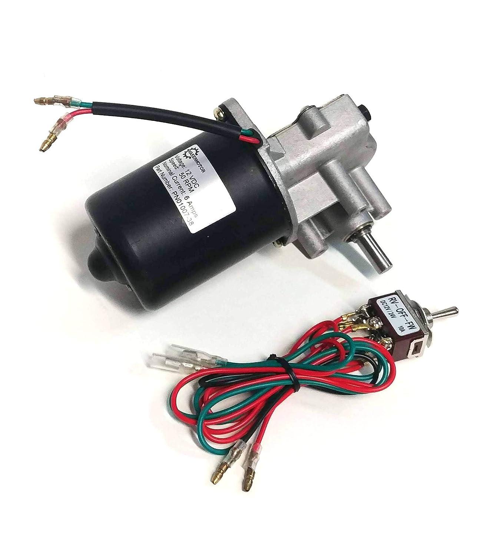 Makermotor High Torque Reversible 12V DC 6RPM Gear Motor DPDT Reverse Switch