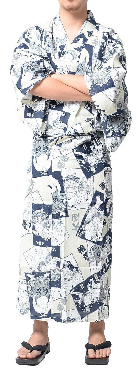 Wako Men's Traditional Easy Wearing Japan Cotton Yukata Robe(Japanese Casual Kimono)