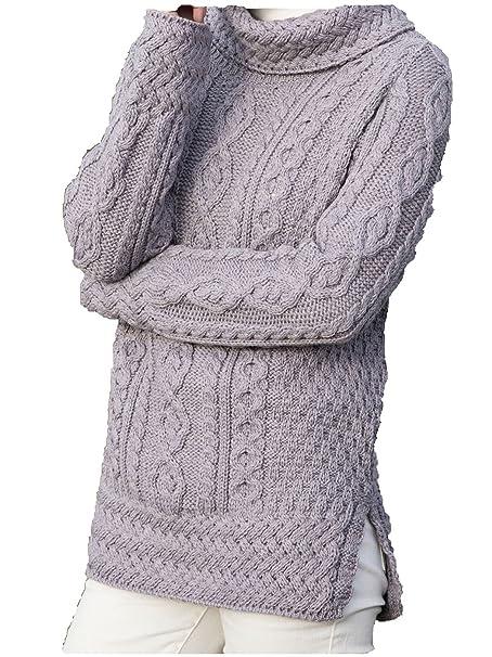 aspetto dettagliato 5dff3 01808 Donna Aran Pullover a maglia in Irlanda lavanda 46: Amazon ...