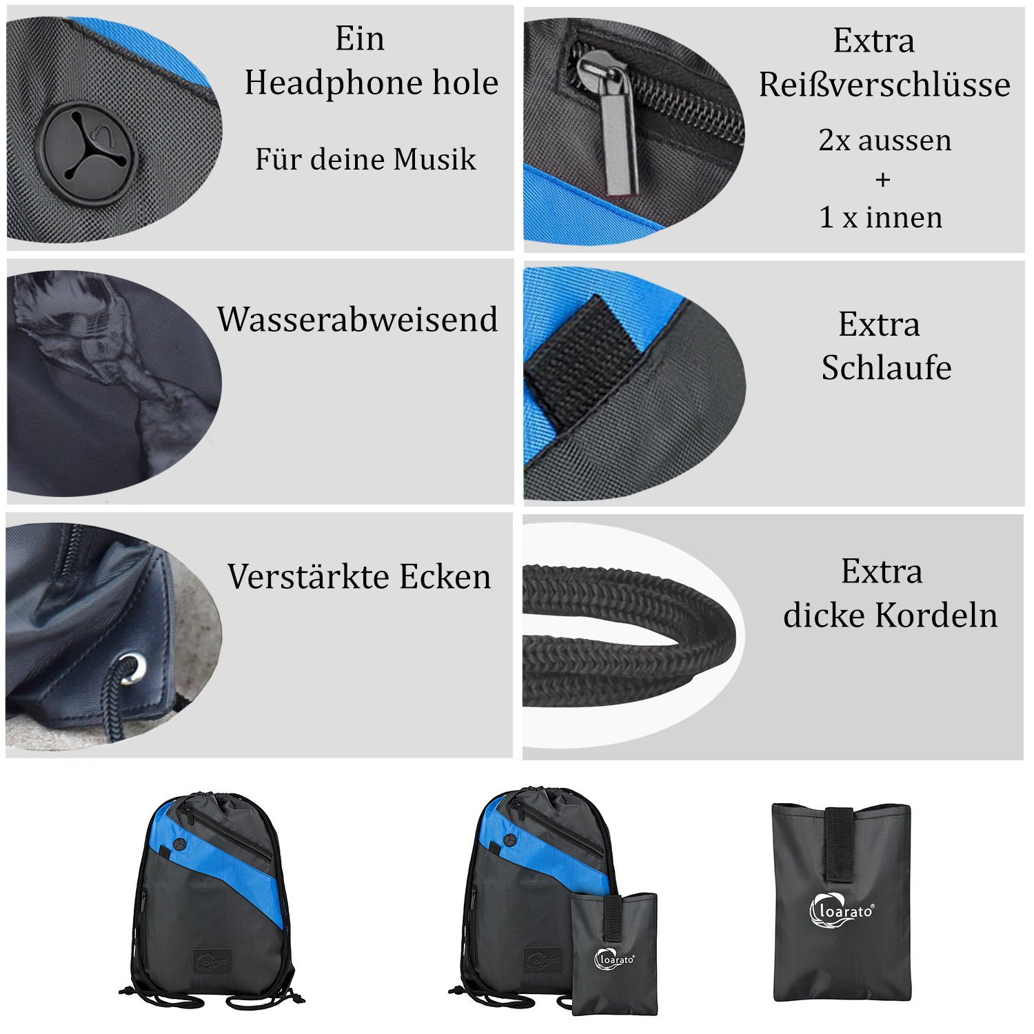 Loarato premium gym bag is water-resistant – the drawstring bag has 3 extra zip pockets and a headphone hole (black-blue)