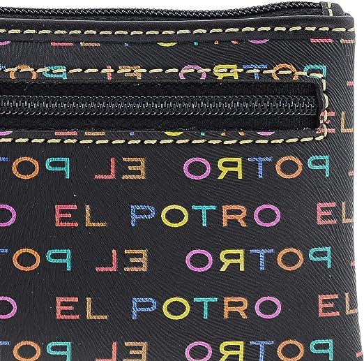 EL POTRO 1117 Multicolor Llavero Monedero Lona y Piel para Mujer Talla U Color Negro