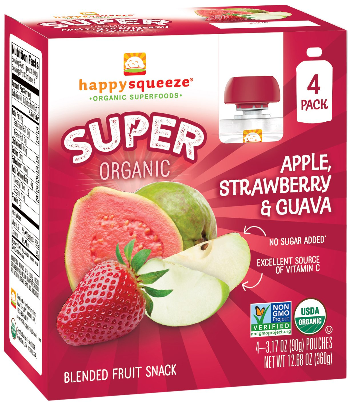 Happy Squeeze Organic Superfoods, Twist Organic Apple/Kale/Blueberry, 3.17 Ounce (Pack of 16) Nurture Inc. 01235