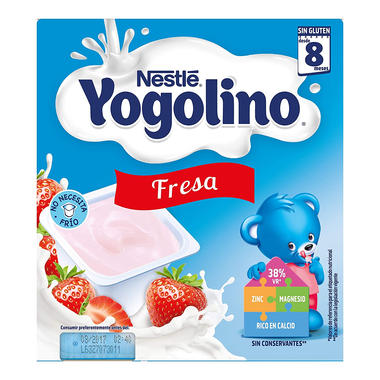 Nestlé Yogolino Postre lácteo con Fresa - Para bebés a partir de 8 meses - Paquete de 8x4 tarrinas de postre lácteo de 100g: Amazon.es: Alimentación y ...