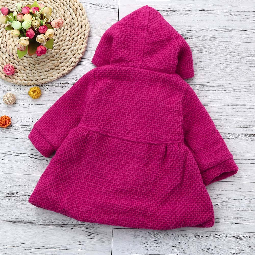 Gonxifacai Baby Toddler Girl Overcoat Long Jacket Winter Hoodded Thick Clothes