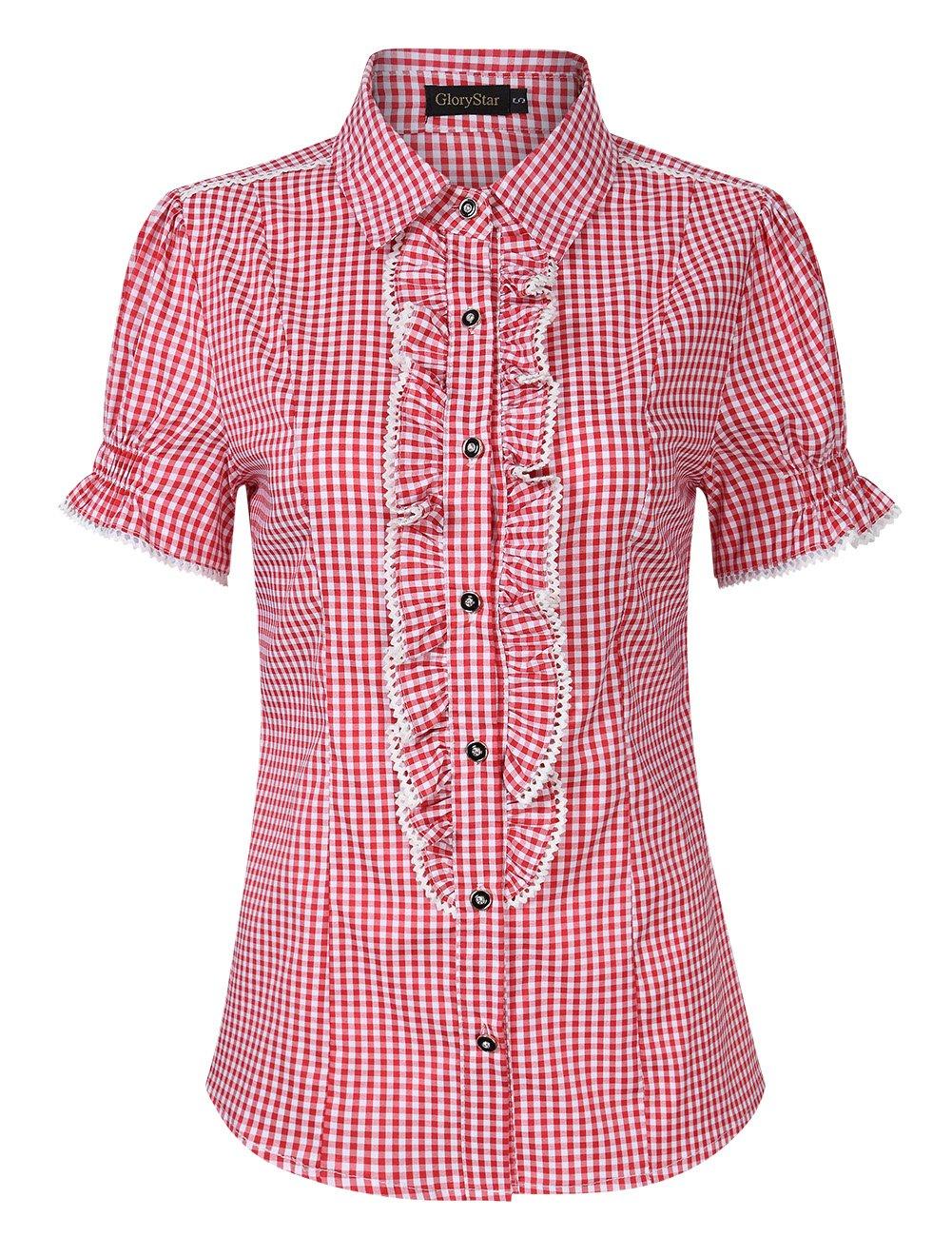 GloryStar Women's Button Down Plaid Shirt Traditional Bavarian Oktoberfest Shirt for Lederhosen Red 2XL