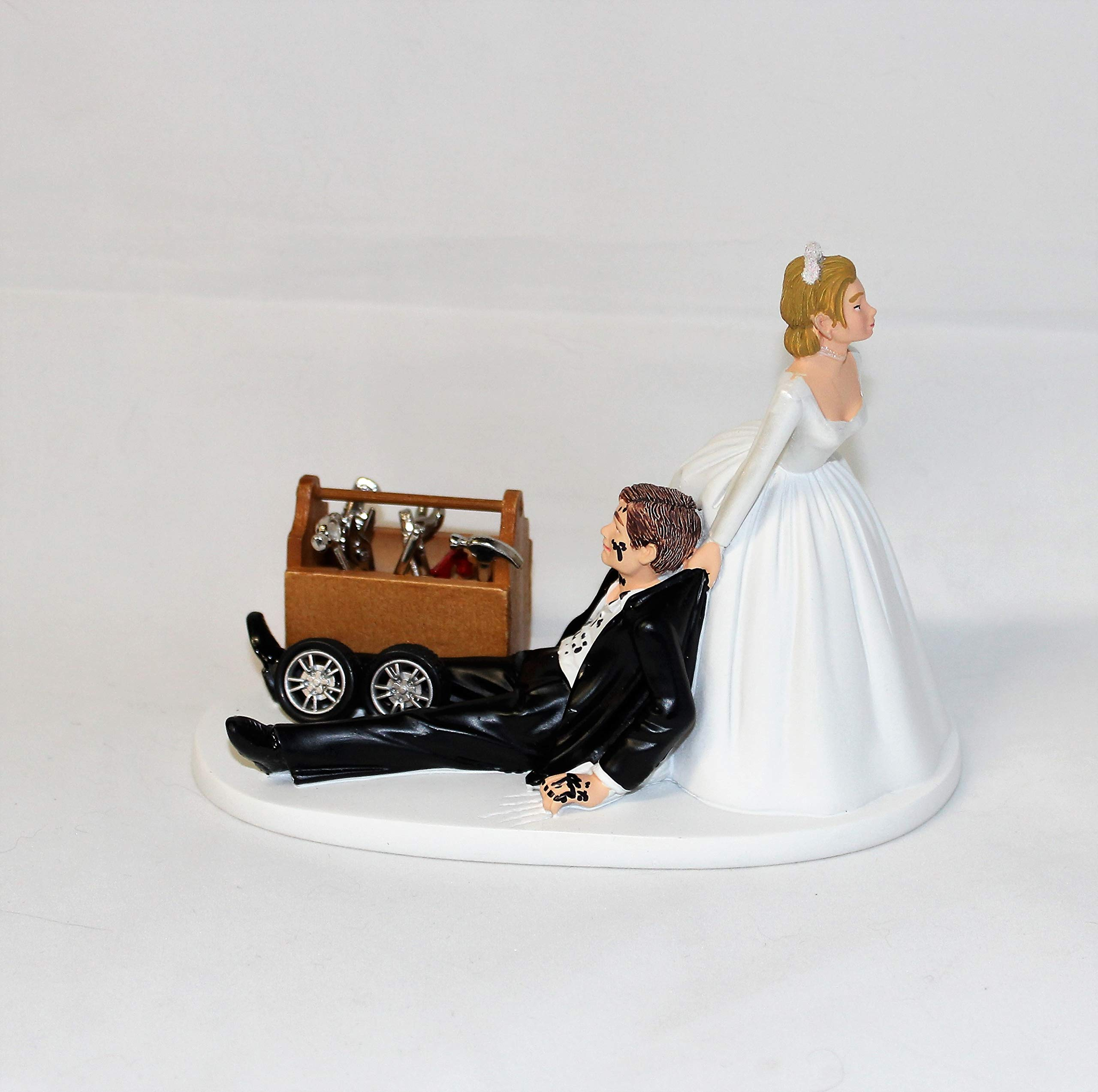Wedding Reception Party Shop Garage Mechanic tool grease Cake Topper by Custom Design Wedding Supplies by Suzanne (Image #2)
