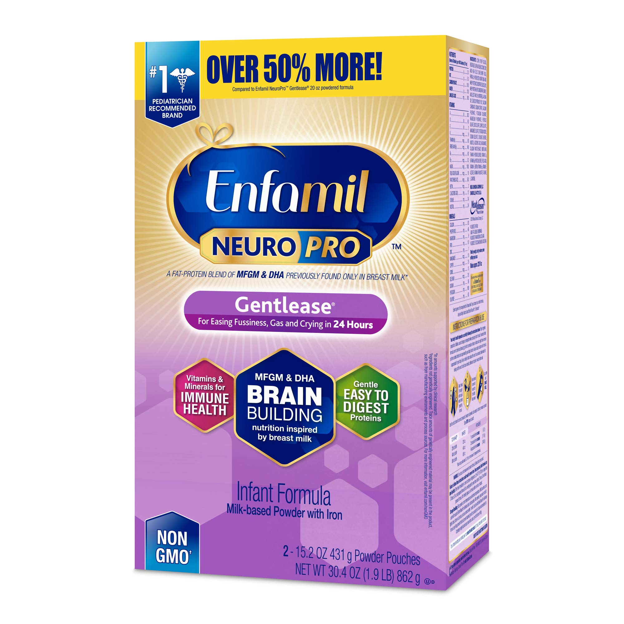 Enfamil NeuroPro Gentlease Infant Formula - Clinically Proven to reduce fussiness, gas, crying in 24 hours - Brain Building Nutrition Inspired by breast milk - Powder Refill Box, 30.4 oz by Enfamil (Image #1)