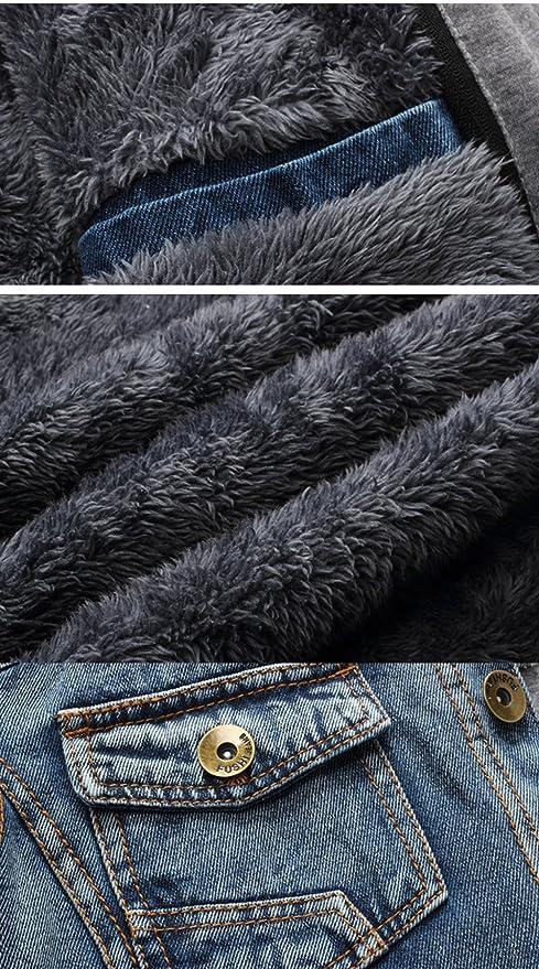 fa0e2d41bce78 Yollmart Men s Winter Lined Fleece Denim Hooded Jacket Casual Jeans Coats  at Amazon Men s Clothing store
