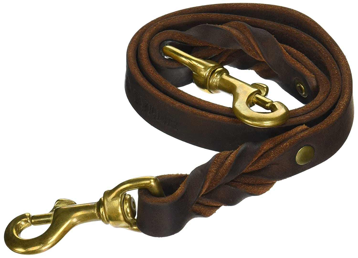 Dean and Tyler Double Snap Braided Dog Leash, Black 3-Feet by 1 2-Inch with Solid Brass Snaps.