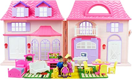 Boley American Doll House 21 Pc Kids Toddler Toy House Playset With Small Furniture Dolls Toys Games