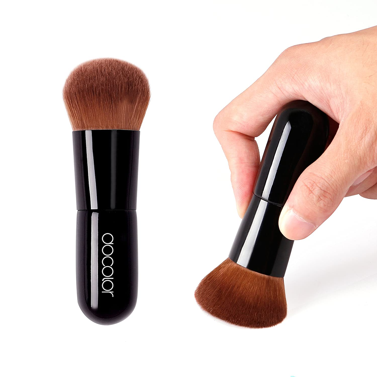 Docolor Kabuki Foundation Face Powder Brush Portable Makeup Cosmetic Tool(Black): Beauty