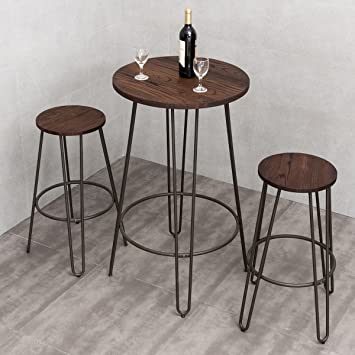 3 Piece Small Space Dining Table U0026 Chair Set Bar Height Pub Table Modern  Rustic Chic